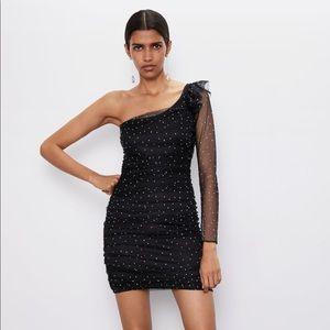 Zara bejeweled asymmetrical dress